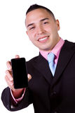 Businessman Holding a Cell Phone Royalty Free Stock Images