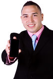 Businessman Holding a Cell Phone Royalty Free Stock Photography