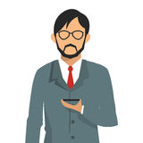 Businessman holding cellphone icon Royalty Free Stock Photography