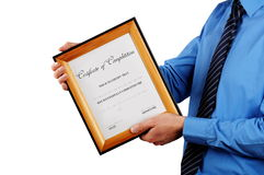 Businessman holding certificate Stock Photos