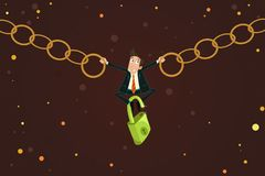 Businessman holding Chain Royalty Free Stock Image