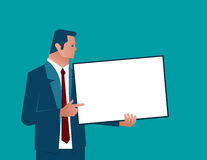 Businessman holding chalk board. Concept business illustration. Vector flat Royalty Free Stock Photos