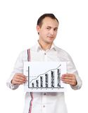 Businessman holding a chart Royalty Free Stock Images