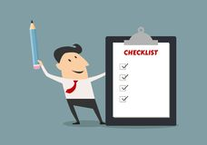 Businessman holding checklist board and pencil Stock Images