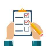 Businessman holding checklist and pencil. Questionnaire, survey, clipboard, task list. Icon flat style vector illustration. Filling out forms, planning Stock Photos