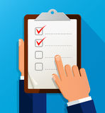 Businessman holding checklist. Questionnaire, clipboard, task list. Icon flat style Stock Photography