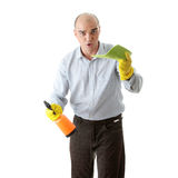 Businessman holding a cleaning accessories Royalty Free Stock Image