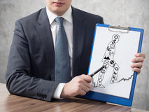 Businessman holding clipboard Royalty Free Stock Photos
