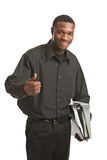 Businessman holding clipboard smiling isolated Stock Photo