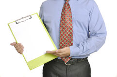 Businessman Holding Clipboard Stock Photo