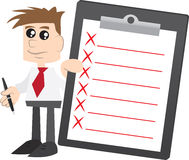 Businessman holding Clipboard with X Marks Royalty Free Stock Images