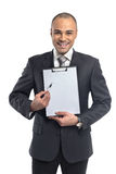 Businessman holding clipboard Stock Image