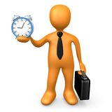 Businessman Holding A Clock. Computer Generated Image - Businessman Holding A Clock Royalty Free Stock Photo