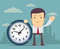 Businessman holding a clock, vector illustration. Businessman holding a clock which showing how much time is left, vector illustration Royalty Free Stock Photo