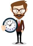 Businessman holding a clock, vector illustration. Businessman holding a clock which showing how much time is left, vector illustration Royalty Free Stock Images