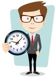 Businessman holding a clock, vector illustration Stock Image