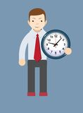 Businessman holding a clock, vector illustration. Young teacher holding a clock showing how much time is left, vector illustration Royalty Free Stock Photo