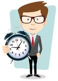 Businessman holding a clock, vector illustration. Young teacher holding a clock showing how much time is left, vector illustration Stock Image