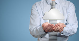 Businessman holding cloud computer network Royalty Free Stock Photos