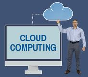 Businessman holding cloud computing icon stock photography