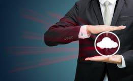 Businessman holding cloud computing network Stock Image