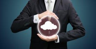 Businessman holding cloud computing network Royalty Free Stock Photos