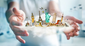 Businessman holding a cloud full of famous monuments in his hand. Businessman on blurred background holding a cloud full of famous monuments in his hands 3D Royalty Free Stock Photography