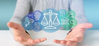 Businessman holding Cloud of justice and law icon bubble with data 3d rendering royalty free stock image