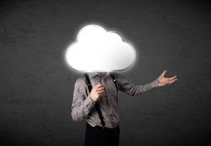 Businessman holding a cloud Royalty Free Stock Photos
