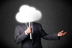 Businessman holding a cloud Royalty Free Stock Photo