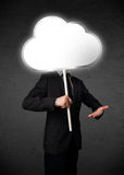 Businessman holding a cloud Royalty Free Stock Images