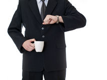 Businessman holding coffee cup Royalty Free Stock Photos
