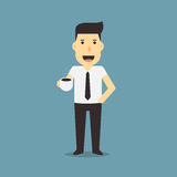 Businessman holding a coffee royalty free illustration