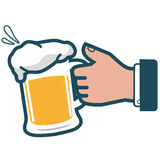 Businessman holding cold beer Royalty Free Stock Images