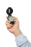 Businessman holding compass Royalty Free Stock Image