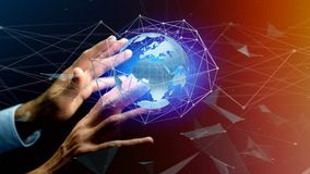 Businessman holding a Connected network over a earth globe conce. View of a Businessman holding a Connected network over a earth globe concept on a futuristic Royalty Free Stock Photos