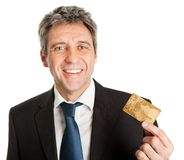 Businessman holding credit card Royalty Free Stock Photography