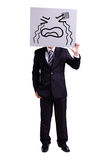 Businessman holding crying expression billboard royalty free stock photos