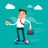 Businessman holding a cup of coffee and briefcase going to work by hoverboard. Isolated vector illustration. Royalty Free Stock Image