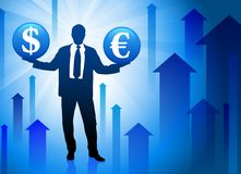 Businessman holding Currenct on Blue Background Stock Photography