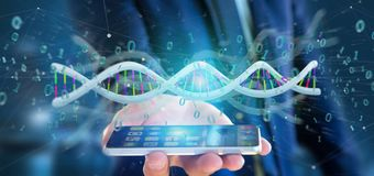 Businessman holding a 3d rendering data coded Dna with binary fi. View of a Businessman holding a 3d rendering data coded Dna with binary file around Royalty Free Stock Photography