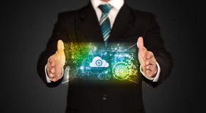 Businessman holding data cloud Royalty Free Stock Images
