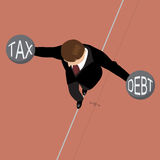 Businessman holding debt weight and tax weight on a wire Royalty Free Stock Images