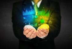Businessman holding diagram cloud Stock Images
