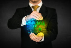 Businessman holding diagram cloud Stock Photo