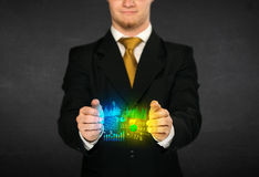 Businessman holding diagram cloud Royalty Free Stock Photography