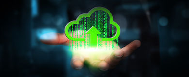 Businessman holding digital cloud in his hand. Green digital cloud receiving datas from businessman hand Stock Images