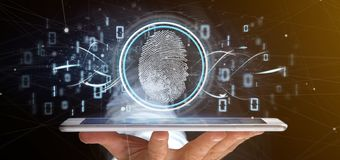 Businessman holding a Digital fingerprint identification and bin. View of a Businessman holding a Digital fingerprint identification and binary code 3d rendering royalty free stock photos