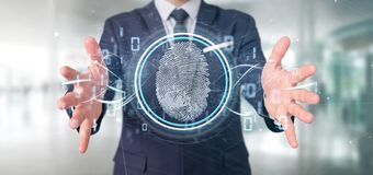 Businessman holding a Digital fingerprint identification and binary code 3d rendering. View of a Businessman holding a Digital fingerprint identification and royalty free stock images