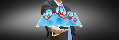 Businessman holding digital map in his hands Stock Image